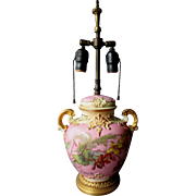 Antique ROYAL BONN Hand Painted Covered Urn TABLE LAMP Bronze Base