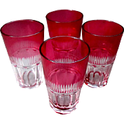 4 Small Antique DORFLINGER Cranberry Cut To Clear WINE GLASSES circa 1880