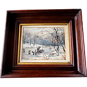 Antique19th Century FOLK ART Watercolor Painting SKATERS on LAKE Walnut Frame