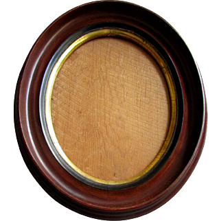 Antique 19th Century WALNUT PICTURE FRAME Oval with Gilt Liner 1880