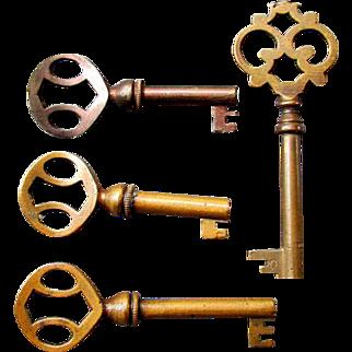4 Antique Brass CABINET KEYS circa 1890 - 1910