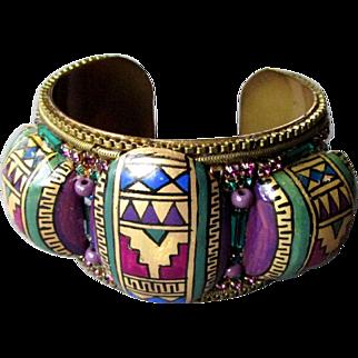 Vintage M & J Hansen Jewel Embellished EGYPTIAN STYLE Cuff Bracelet Signed 1987