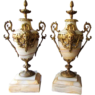Pair Antique Bronze & Onyx French Style MANTEL GARNITURES  circa 1890