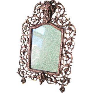 Antique 19th Century Grass Easel Back PICTURE FRAME with BACCHUS circa 1890
