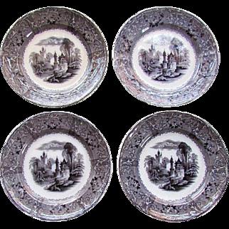 "4 Antique T.J.&J MAYER Mulberry Transferware 8 1/2"" PLATES  Rhone Scenery 1850"