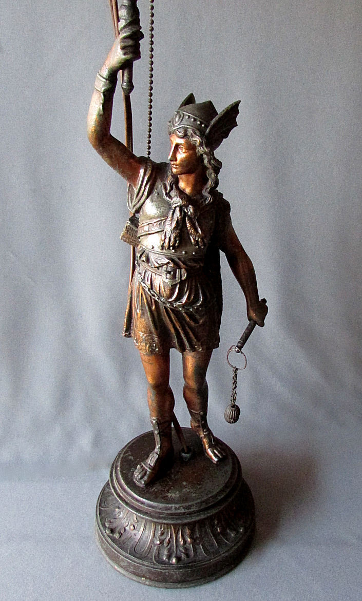 Antique Cast Metal Spelter Figural Table Lamp Spartan
