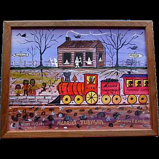 Vintage SALLIE LOU P. EAKINS Black Americana Outsider Art Painting NEGRO HISTORY No. 5 Harriet Tubman
