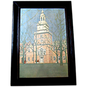 Antique JULES GUERIN Arts & Crafts Lithograph Print Independence Hall Philadelphia Oak Frame