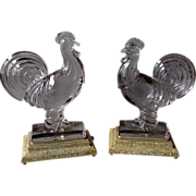 Pair Vintage Art Deco GLASS ROOSTER LAMPS with Illuminating Stands  1930's