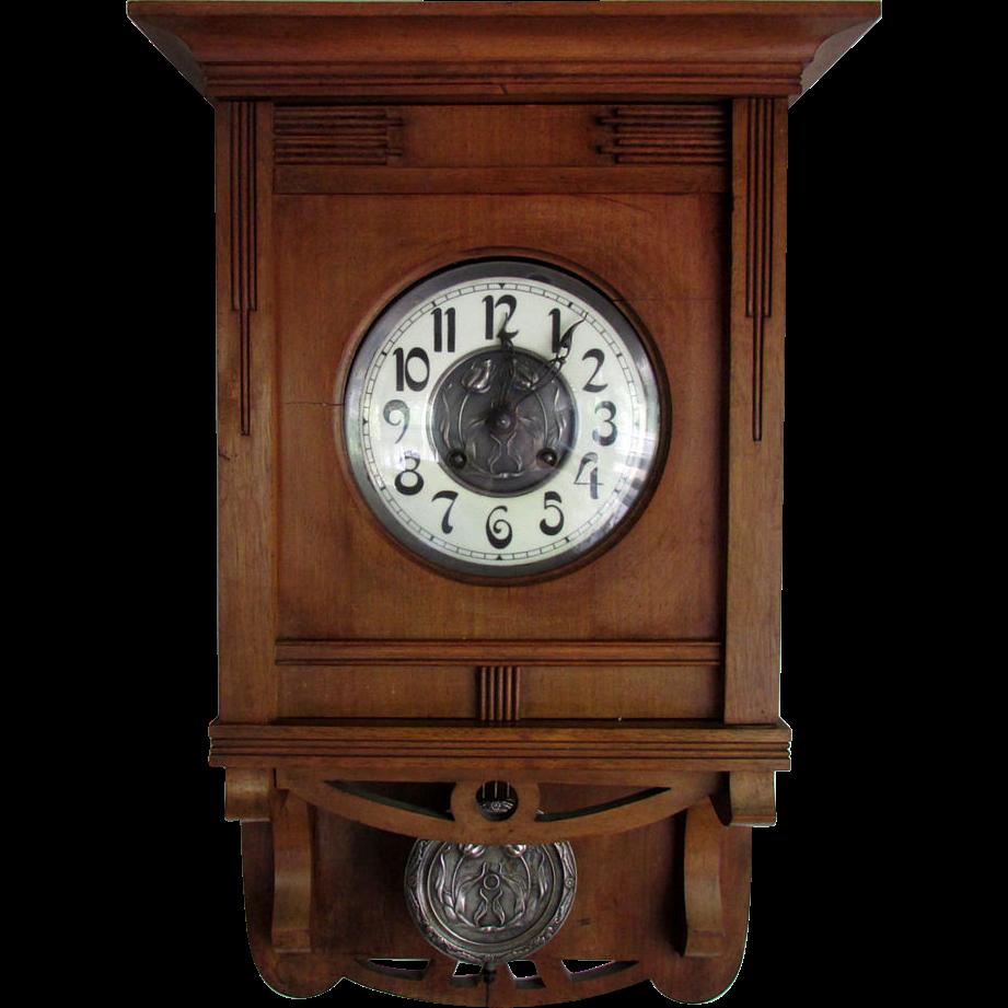 Wall Clock Art Nouveau : Beautiful antique schlenker kienzle art nouveau wall clock