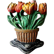Antique ALBANY FOUNDRY Figural Cast Iron DOORSTOP with TULIPS circa 1920's