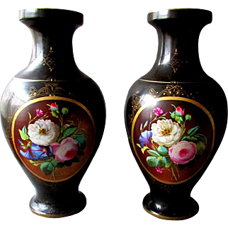 Matched Pair of Large ANTIQUE  - 19th Century - Hand Painted Porcelain - OLD PARIS VASES - 1850