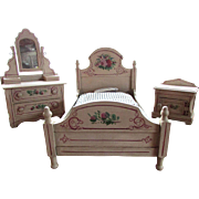 Antique - Hand Painted Wood - DOLL SIZE -  Cottage Bedroom Suite -  Bed Dresser Washstand - circa 1880