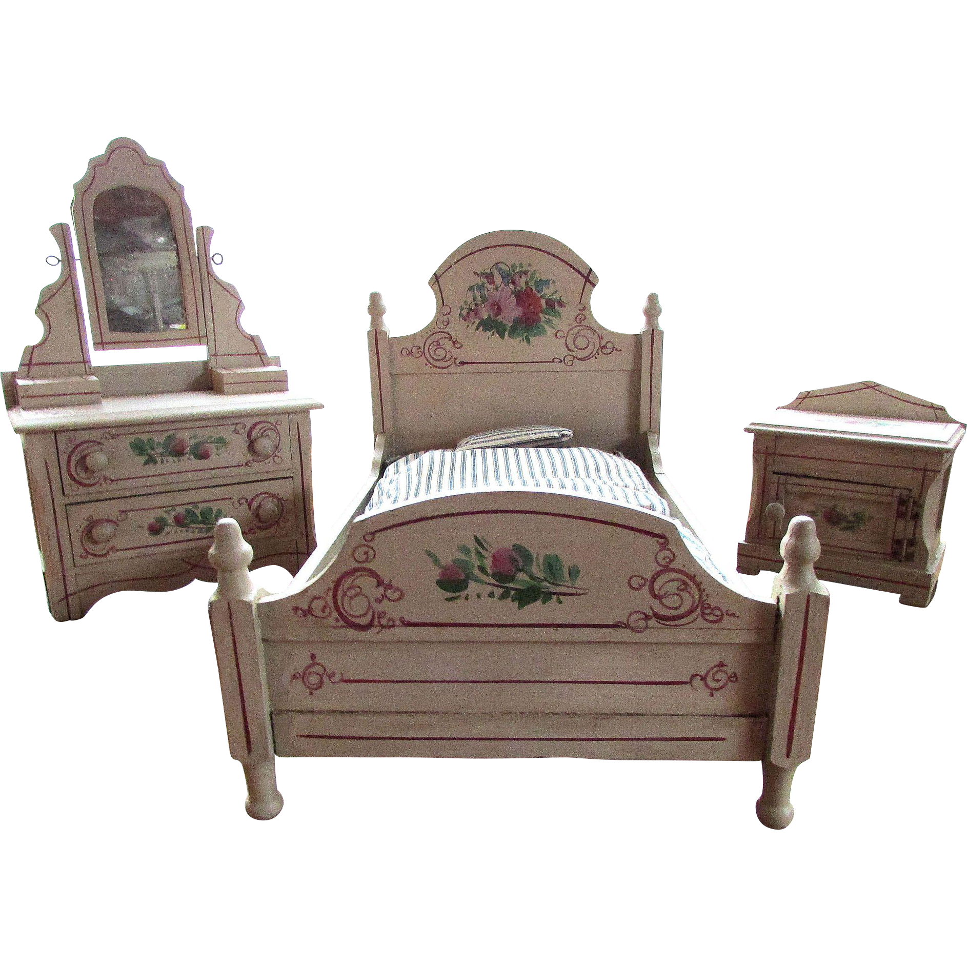 antique hand painted wood doll size cottage bedroom suite sold