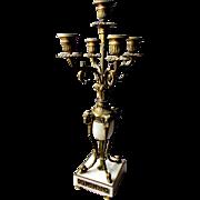 Antique 19th Century ORMOLU BRONZE & ALABASTER Regency Style CANDELABRA