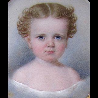 Antique 19th Century JOHN CARLIN Miniature Painting PORTRAIT of a BEAUTIFUL CHILD circa 1850