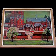 Vintage BRENDA JOHNSTON Oil Painting St. John's School Leatherhead England