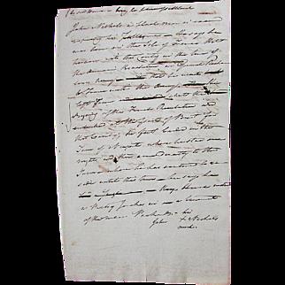 Antique Hand Written SLAVERY DOCUMENT Warwick Rhode Island Settlement Examination of Free African American's RUNAWAY SLAVES