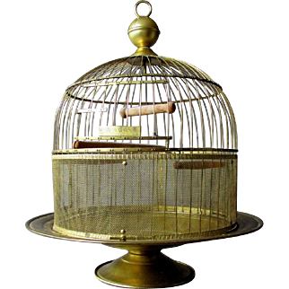 Antique HENDRYX Footed Brass Tabletop Birdcage