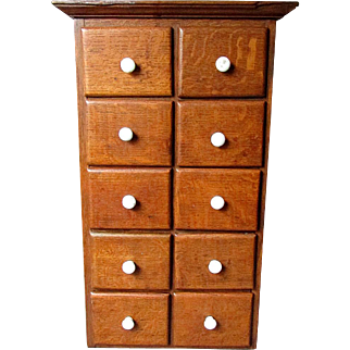 Excellent ANTIQUE Quarter Grained Golden Oak SPICE CABINET Wooden Box with Porcelain Knobs