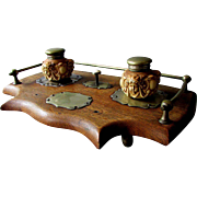Excellent ANTIQUE Oak Wood Brass & Glass  INKSTAND with Figural Inkwells & Service Bell