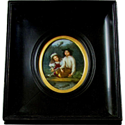 Antique 19th Century Miniature Painting on Porcelain Boy & Girl Fishing