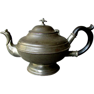 Antique - 19th Century -  Griffiths & Browett -  Birmingham - HAND MADE TIN TEAPOT with Wooden Handle