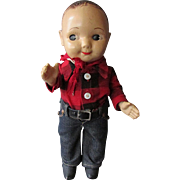 Vintage BUDDY LEE Hard Plastic Advertising Character Doll with Jeans & Flannel Shirt