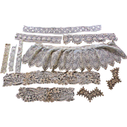 11 Pieces  of ANTIQUE 19th Century Hand Made & Machine Made LACE TRIM