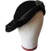 Beautiful VINTAGE Black Velvet FLAPPER STYLE 1930's  Lady's Hat  with Jet Beads