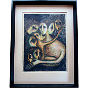 Vintage Mid Century BELLA BRISEL Hand Colored Monoprint ASSEMBLEE Israel