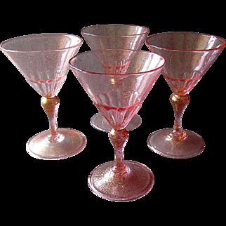 4 Vintage MURANO Venetian Art Glass WINE GLASSES Pink with Gold Aventurine 1920