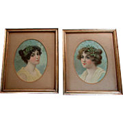 Pair Antique Victorian Era CHROMOLITHOGRAPH PRINTS Beautiful Young Women 1890 - 1900