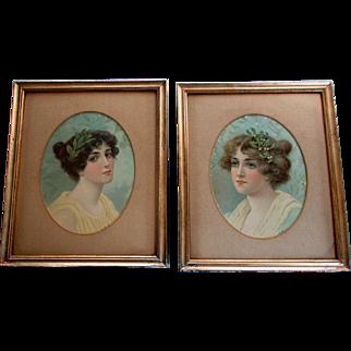 Pair Antique Victorian Era CHROMOLITHOGRAPH PRINTS Beautiful Young Women 1890 - 1900