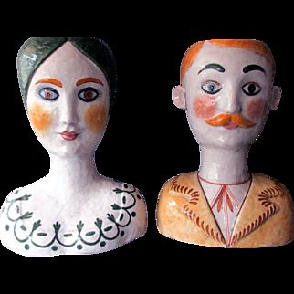 Pair VINTAGE Mid Century HORCHOW Hand Painted Italian Ceramic HEAD VASES Italy