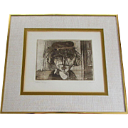 Vintage RUTH SCHLOSS Limited Edition Original Etching GIRL WITH VEIL Israel