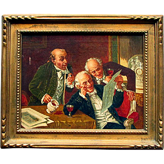 Antique P. GILARDI Oil Painting on Canvas THE CONNOISSEURS Carved Wood Frame with Newman Gallery Label