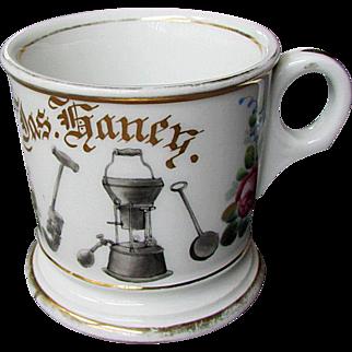 Antique - Hand Painted Porcelain -  T&V Limoges -  Occupational Shaving Mug - PLUMBER -  Jas. Haney -