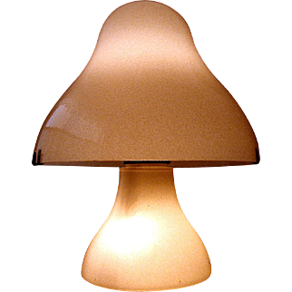 Large VINTAGE Mid Century MURANO Venetian Art Glass MUSHROOM LAMP circa 1970'- 1980's