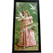 Beautiful ANTIQUE Victorian Era Color Lithograph Print GIRL with DOVES circa 1890