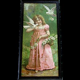 Beautiful ANTIQUE Victorian Era Color Lithograph Print GIRL with DOVES circa 1890