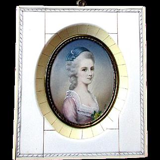 Beautiful ANTIQUE Miniature Portrait Painting YOUNG WOMAN Artist Signed J.J.E.