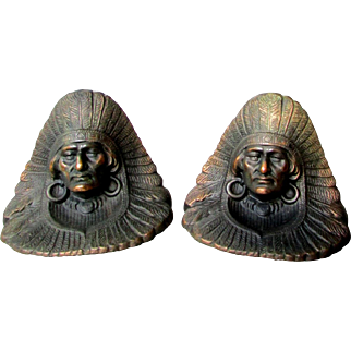 Excellent ANTIQUE Littlestown Foundry Native American Indian Chief Arts & Crafts BOOKENDS