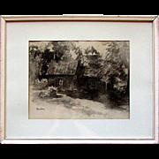Vintage JOHN PETER HEIDEN Impressionism Cottage In The Woods Charcoal Sketch