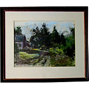 Vintage JOHN PETER HEIDEN Impressionism Cottage in the Woods Pastel Painting