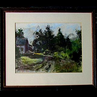 Vintage JOHN PETER HEIDEN Impressionism Cottage in the Woods Pastel Painting