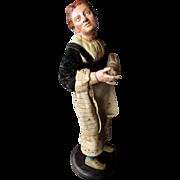 Antique 19th Century  ITALIAN CRECHE FIGURE Terracotta & Wood Neapolitan Woman