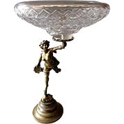 Outstanding ANTIQUE Bronze & Cut Glass CENTERPIECE BOWL with Female Nude Figure