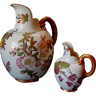 2 Antique 19th Century ROYAL WORCESTER Hand Painted Porcelain PITCHERS 1885