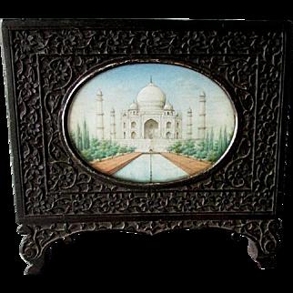 ANTIQUE 19th Century Grand Tour Miniature Painting TAJ MAHAL Carved Wood Frame